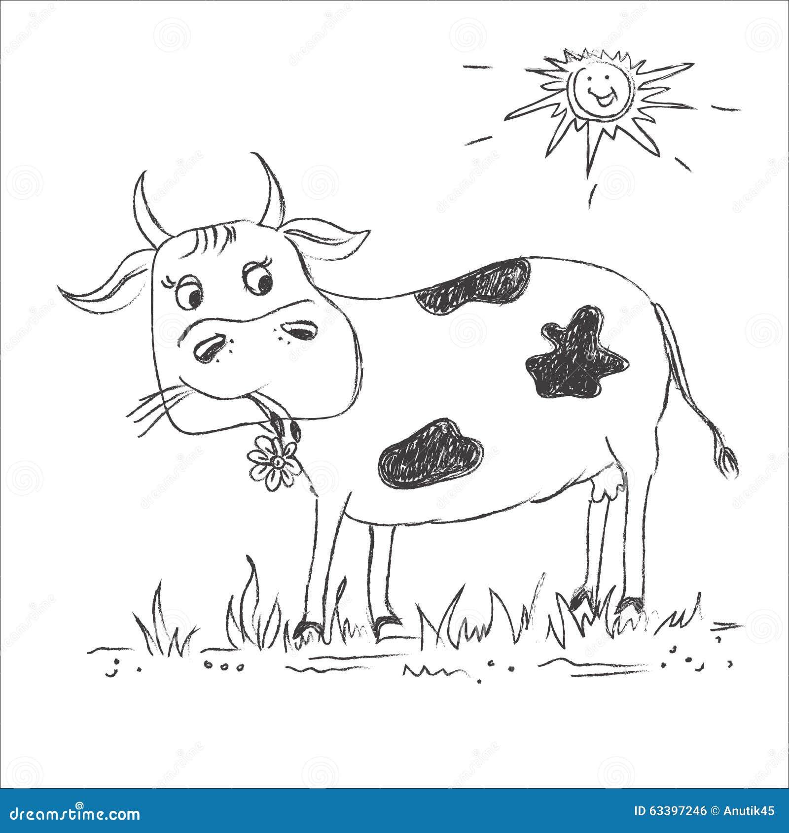 Sketch, Cow, clip art stock vector  Illustration of milk