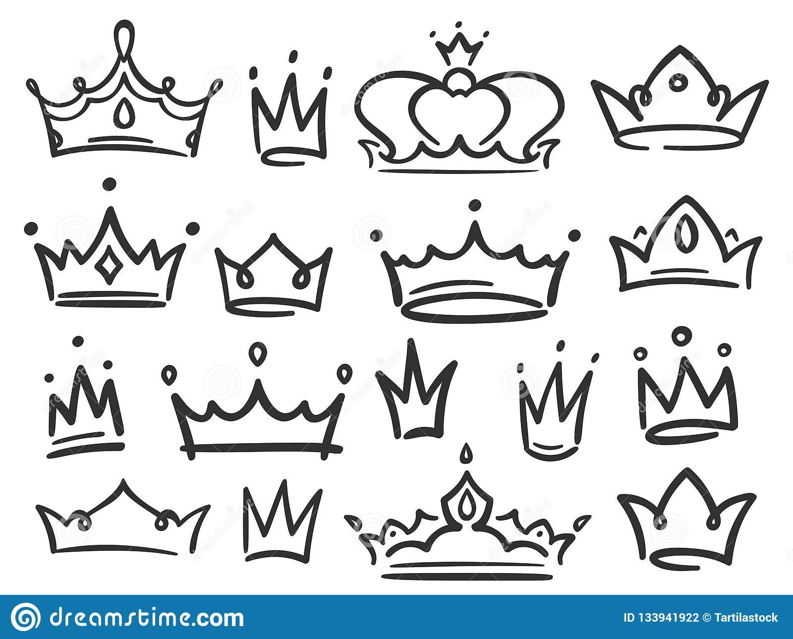 Sketch Crown Simple Graffiti Crowning Elegant Queen Or King Crowns