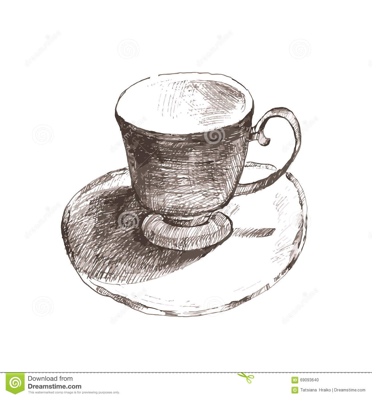 Sketch Cup Elegant Cup And Saucer Retro Cup Of Tea And Coffee Vector Illustration Stock Illustration Illustration Of Brown Isolated 69093640