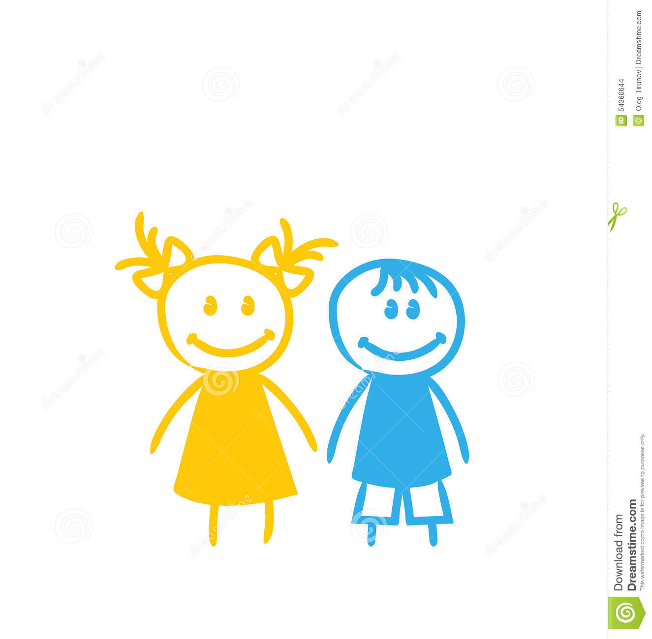 Illustration sketch cute funny girl and boy isolated on white background vector