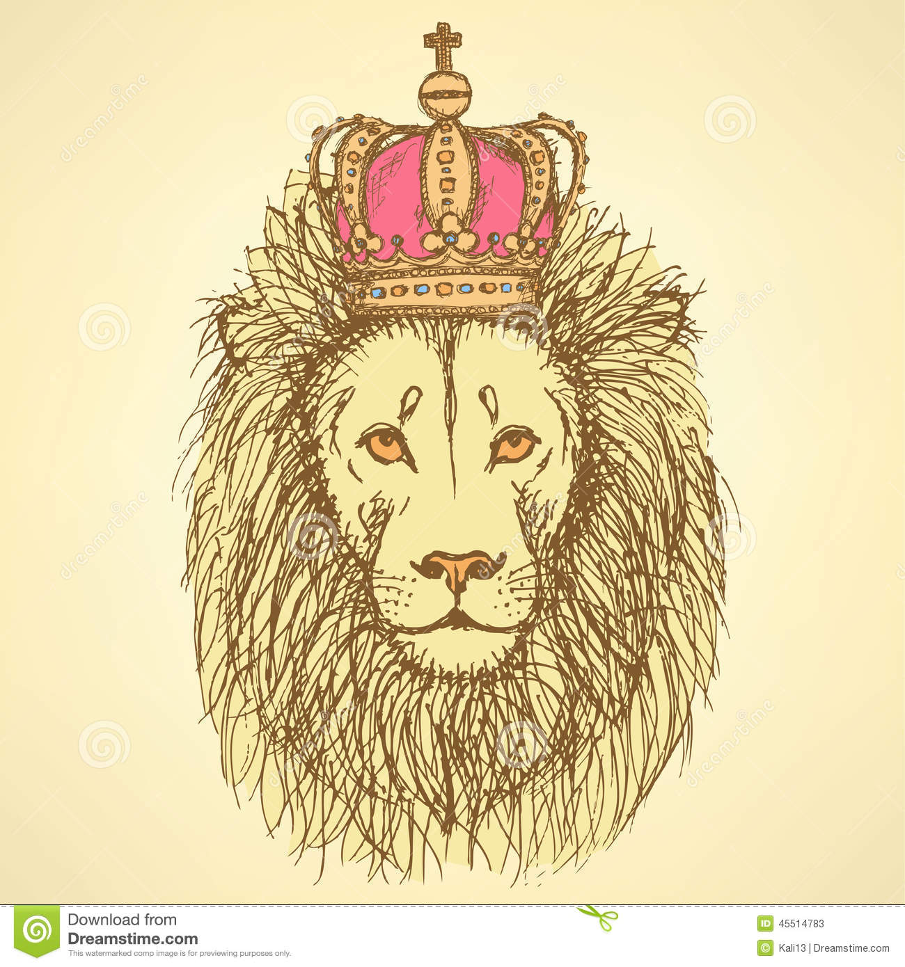 Cute lion with crown in vintage style stock vector image 45514783