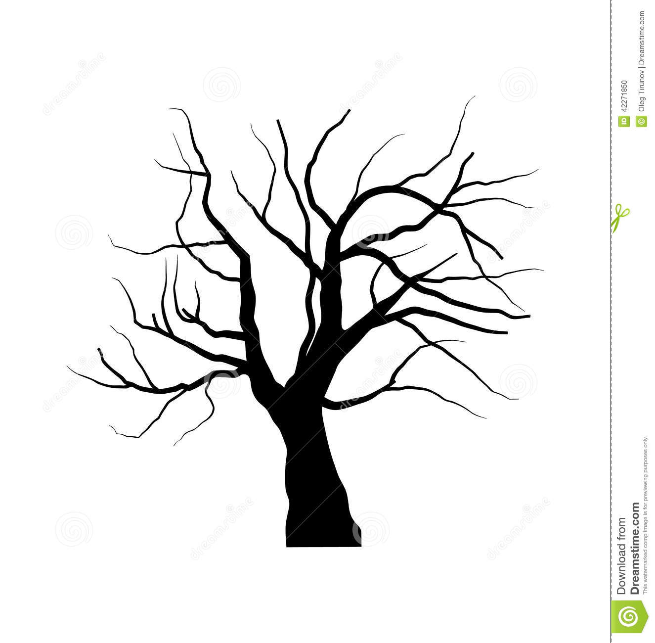 Sketch Of Dead Tree Without Leaves Isolated On White Backgroun Stock