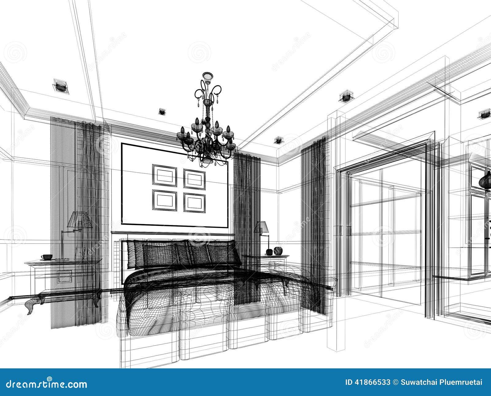 Sketch design of bedroom 3d render stock illustration for Interieur design online