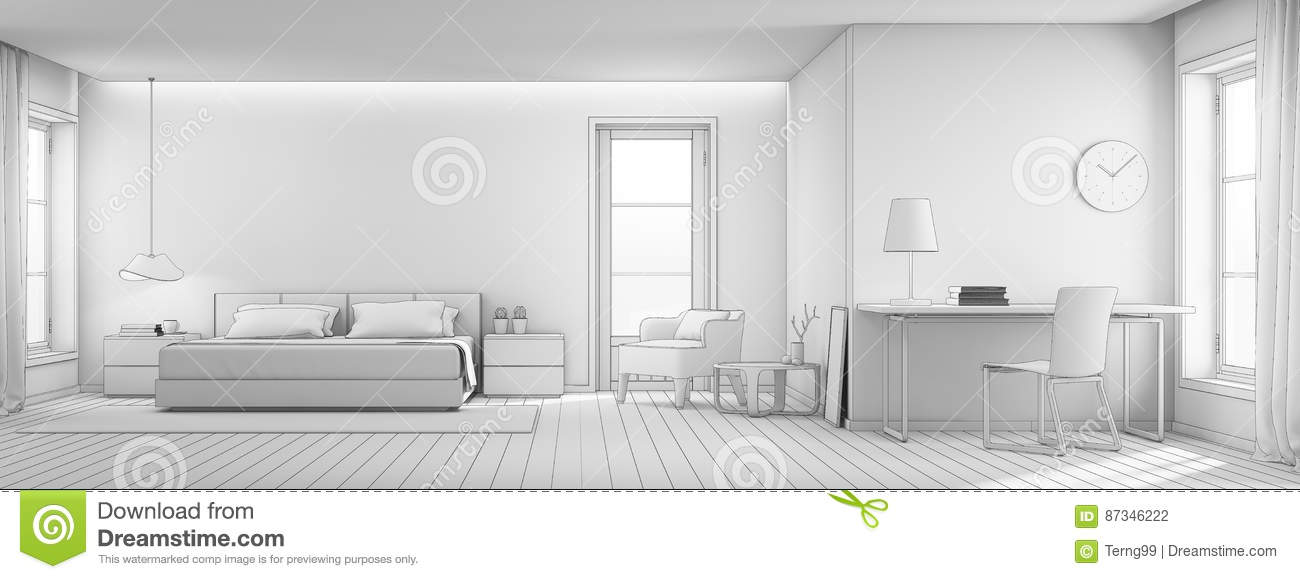 Interior Design Office Sketches sketch design of bedroom and living room in luxury house, modern