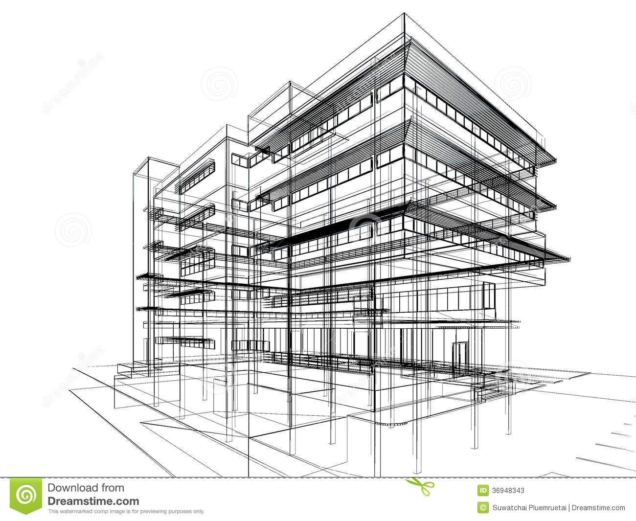 Sketch design of building stock illustration illustration for How to build a blueprint