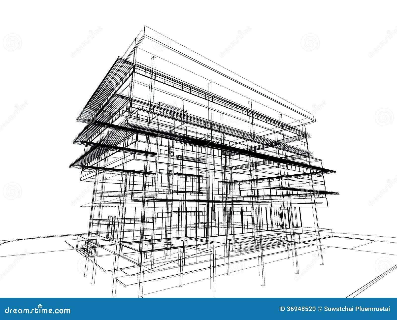 Design House Blueprint Free Sketch Design Of Building Stock Illustration Illustration