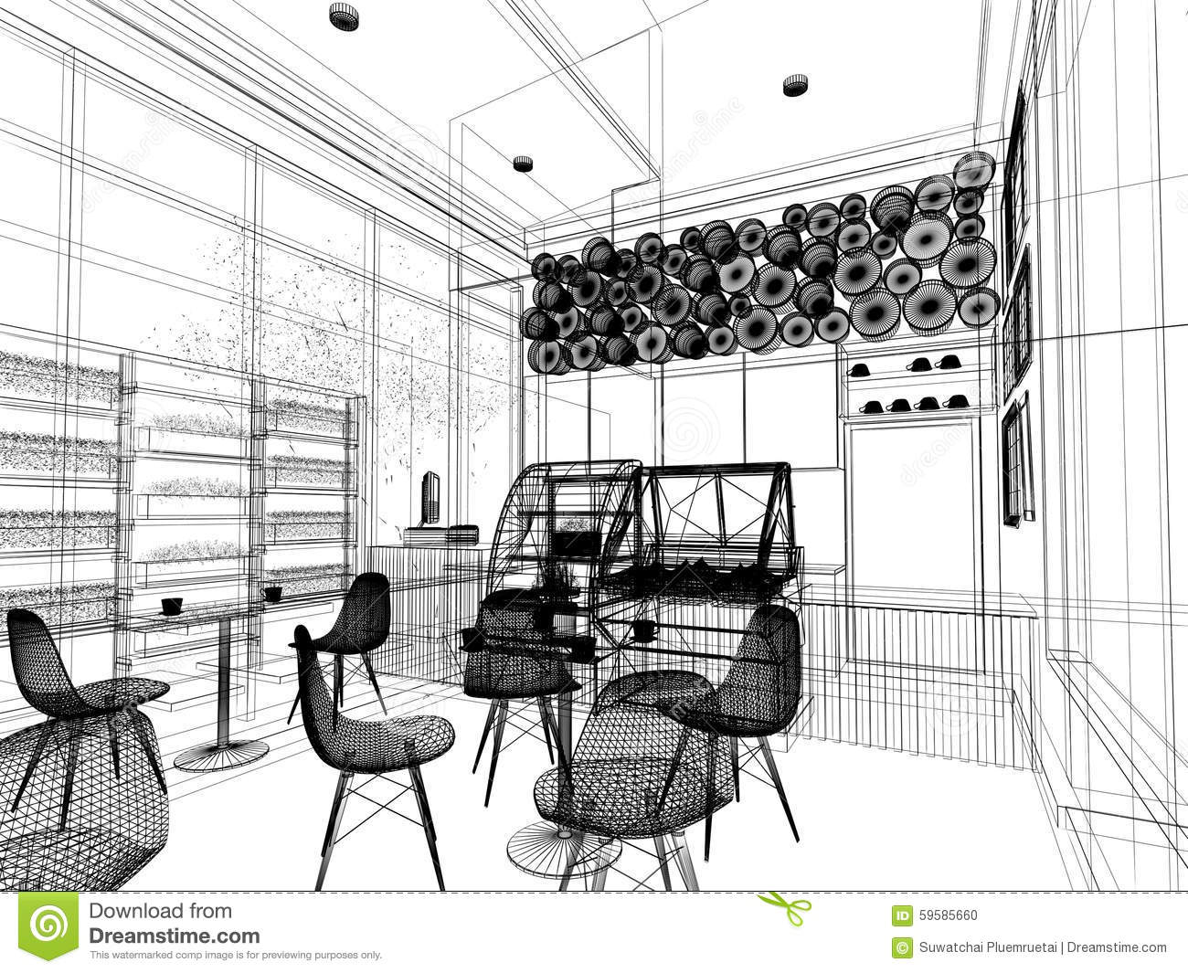 Sketch Design Of Coffee Shop  Stock Photo - Image 59585660
