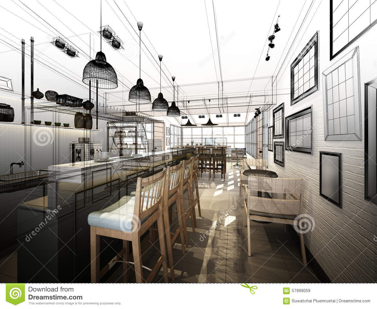 Sketch Design Of Coffee Shop Stock Illustration - Illustration Of Concept Plan 57999059