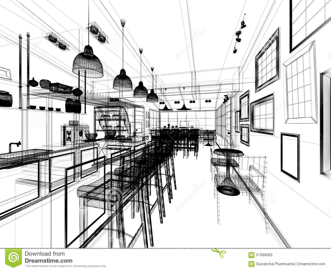 Sketch Design Of Coffee Shop Stock Illustration Image