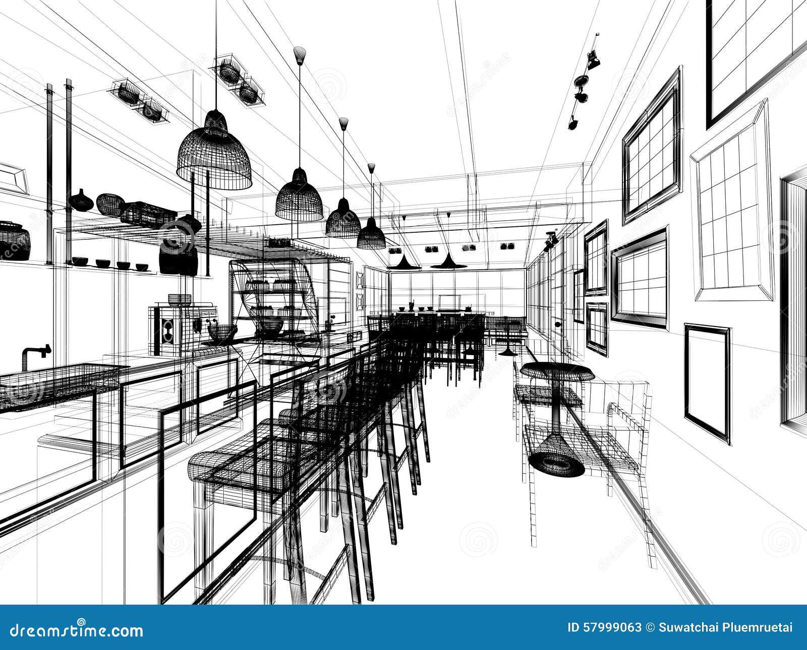 Museum Floor Plans Sketch Design Of Coffee Shop Stock Illustration Image
