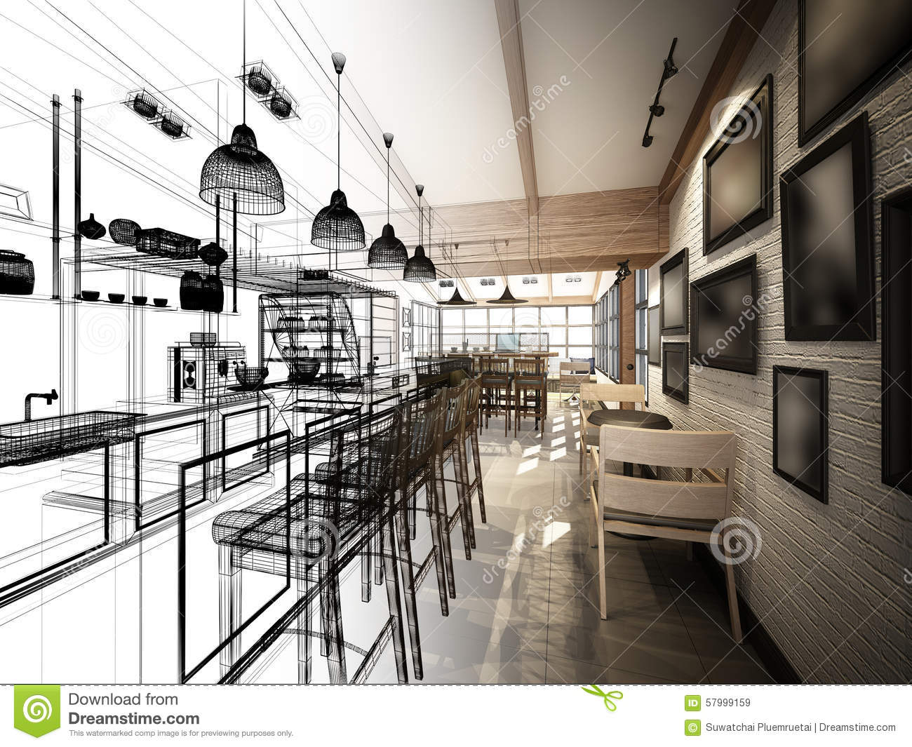 Sketch Design Of Coffee Shop Stock Illustration - Image 57999159