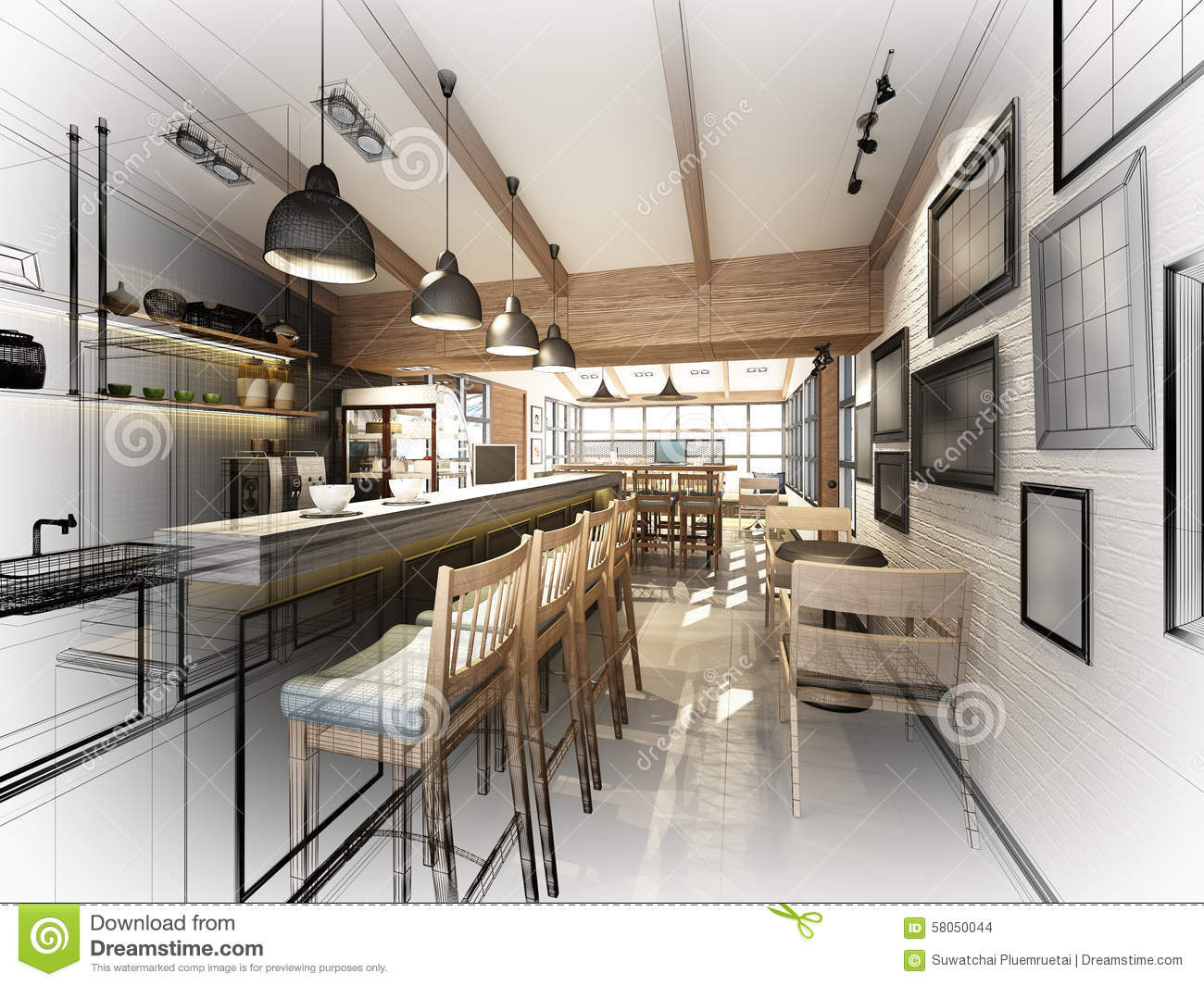 Stock Illustration Sketch Design Coffee Shop Dwire Frame Render Image58050044 on Small Coffee Shop Floor Plans