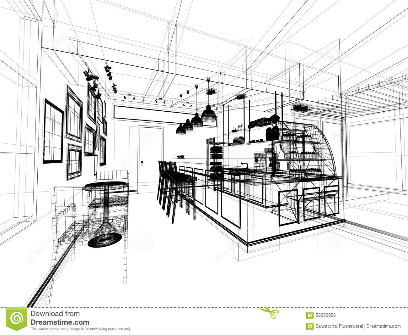 Sketch Design Of Coffee Shop Stock Illustration - Illustration Of Architecture Perspective ...