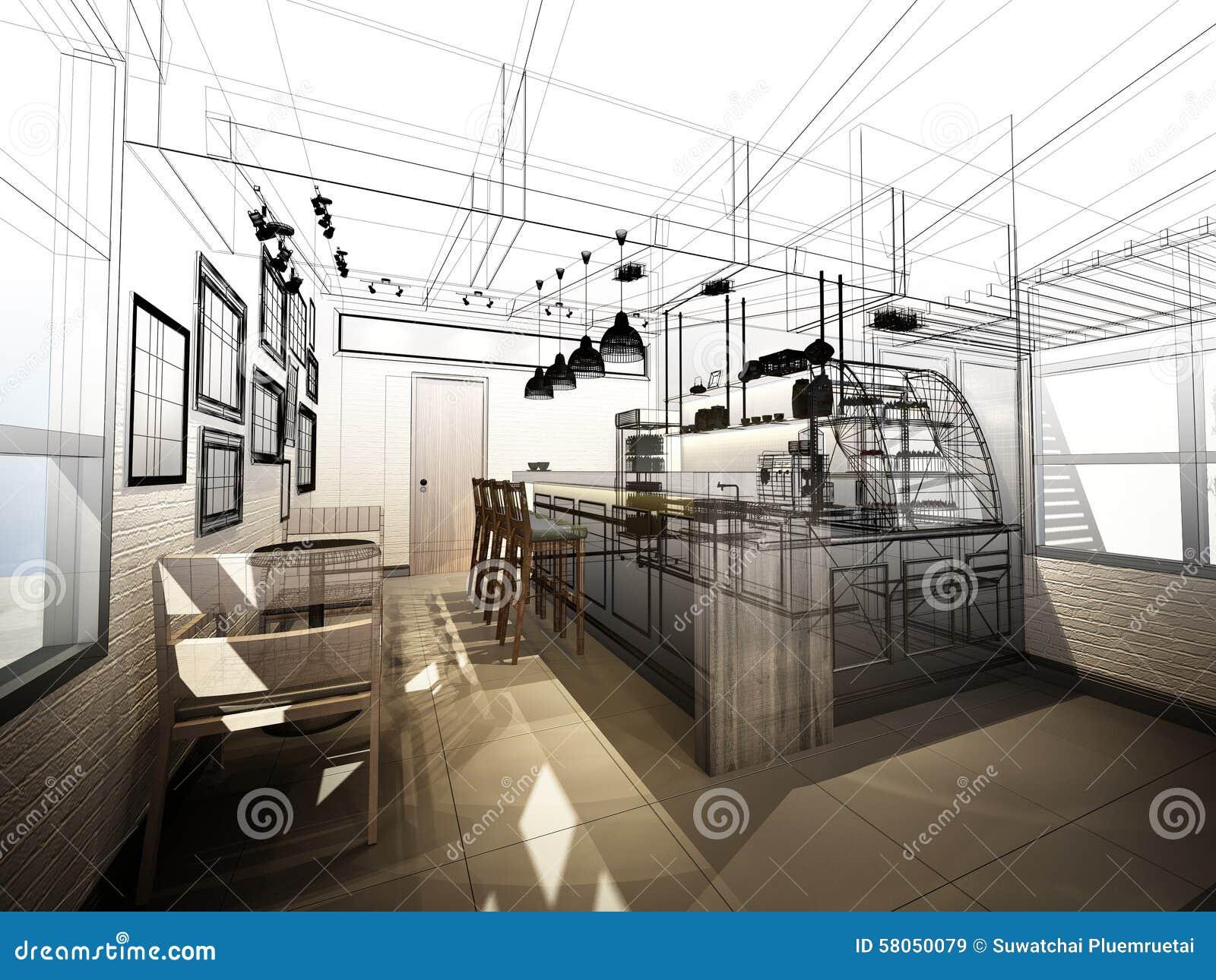 Sketch Design Of Coffee Shop Stock Image Image 58050079