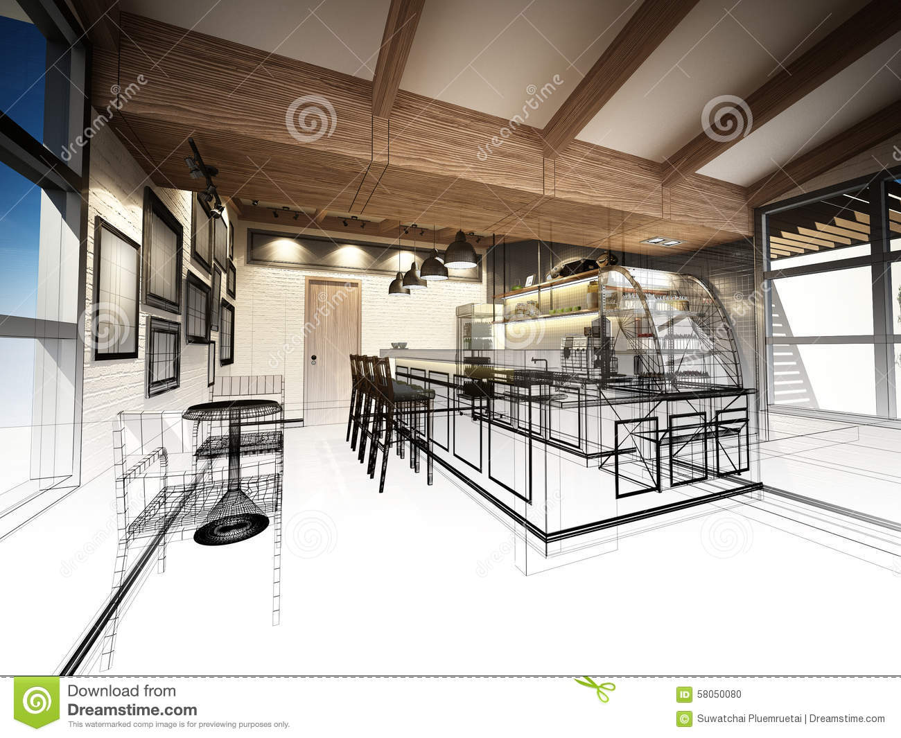 Sketch Design Of Coffee Shop Stock Photo - Image 58050080