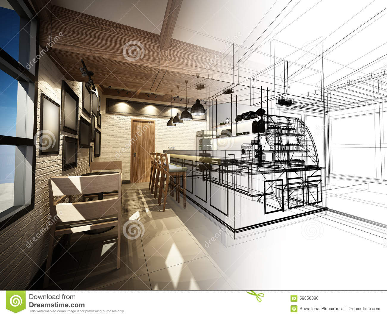 Sketch Design Of Coffee Shop Stock Illustration - Illustration Of Furniture Architecture 58050086