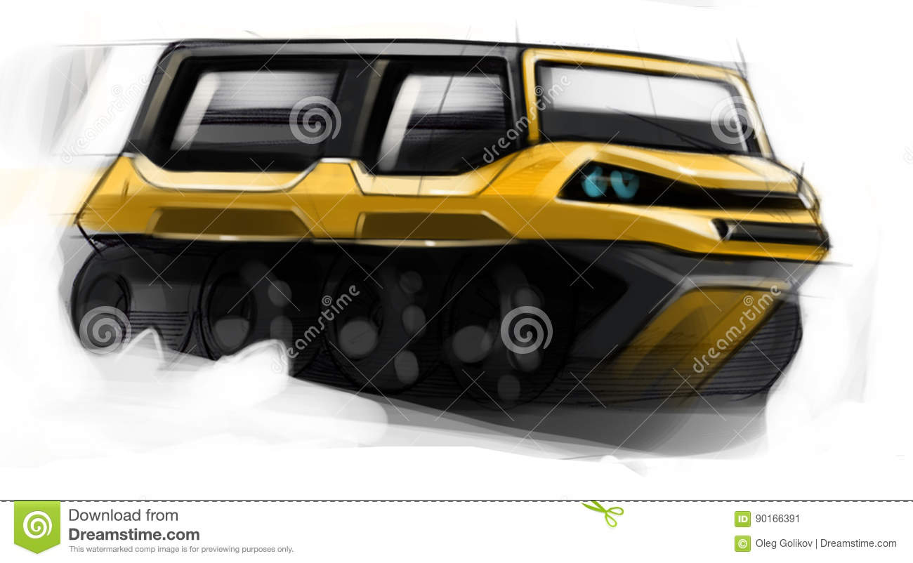 Sketch Design Concept Of Cross Country Off Road Vehicle Illustration Stock Illustration Illustration Of Body Concept 90166391