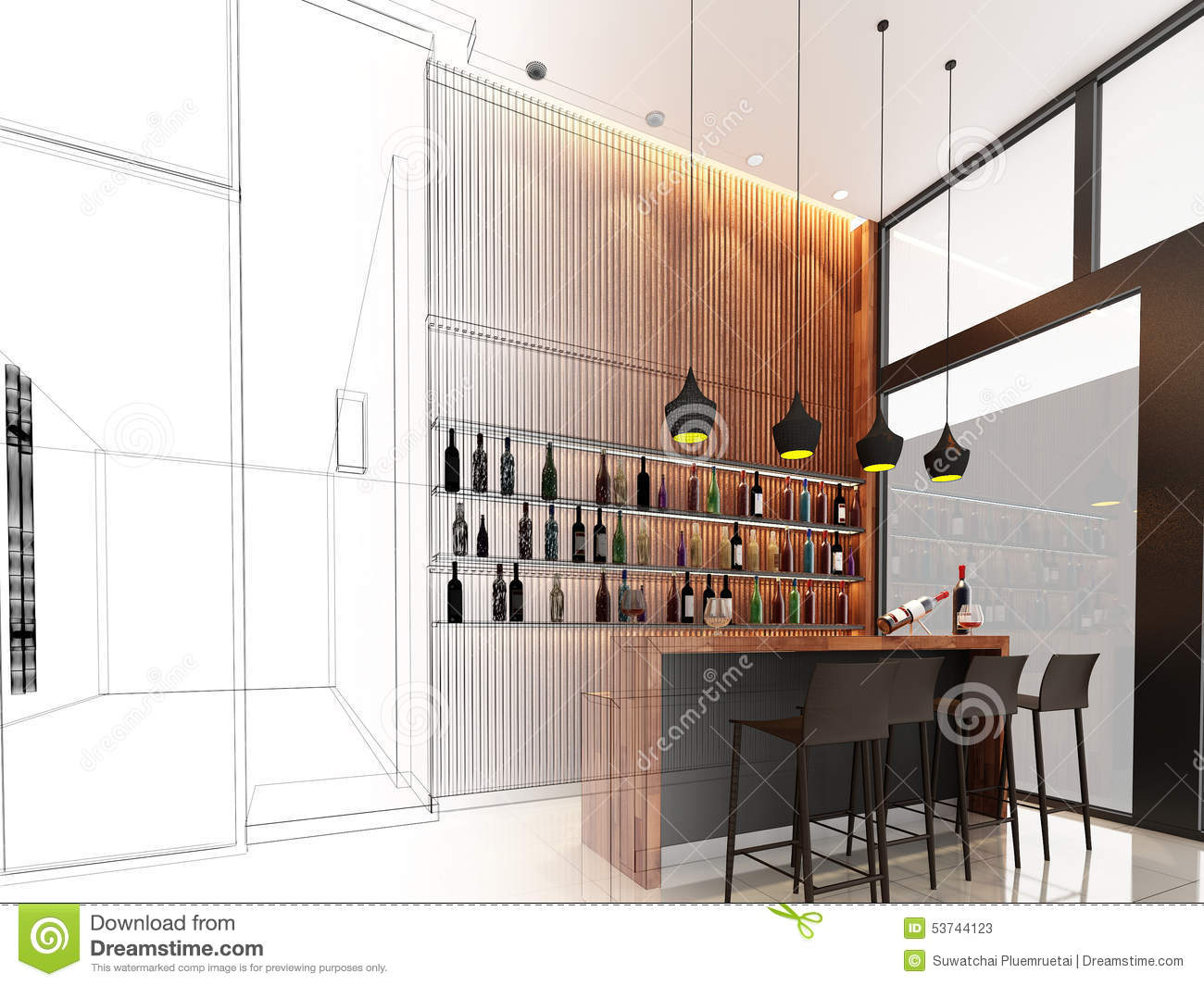 Sketch Design Of Counter Bar Stock Image - Image of engineering ...