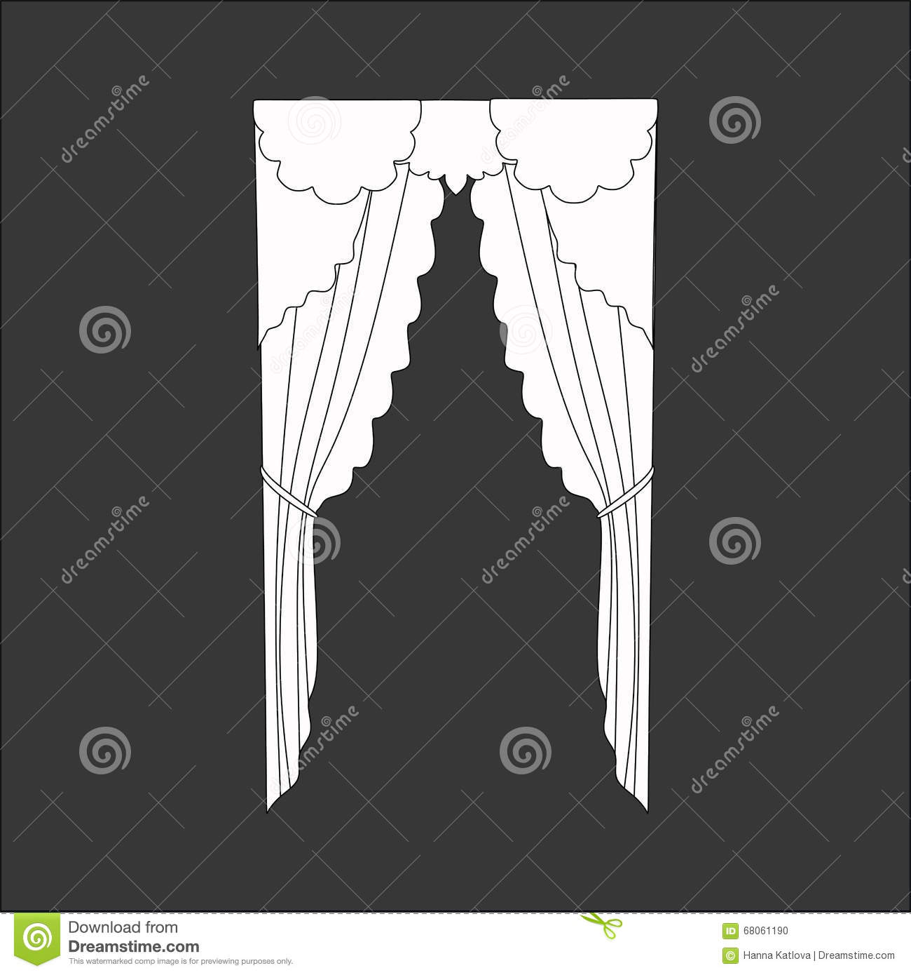 Sketch design curtains windows stock vector image 68061190 for Window design sketch