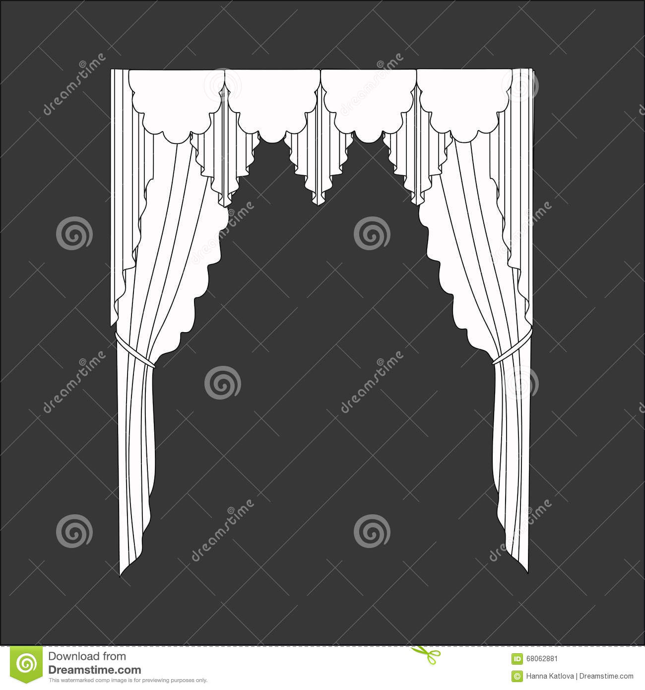 Sketch design curtains windows stock vector image 68062881 for Window design sketch