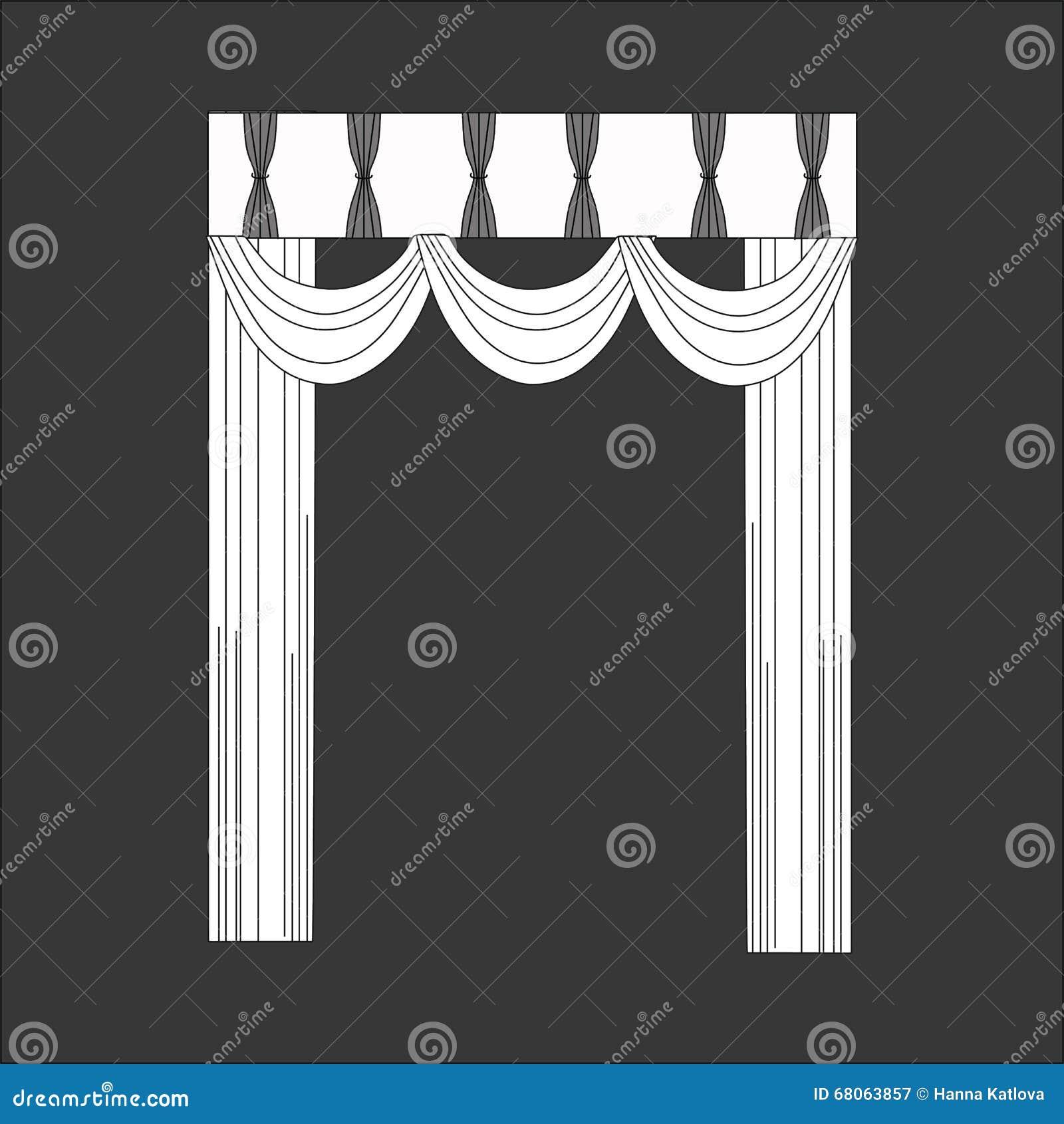 Sketch design curtains windows stock illustration
