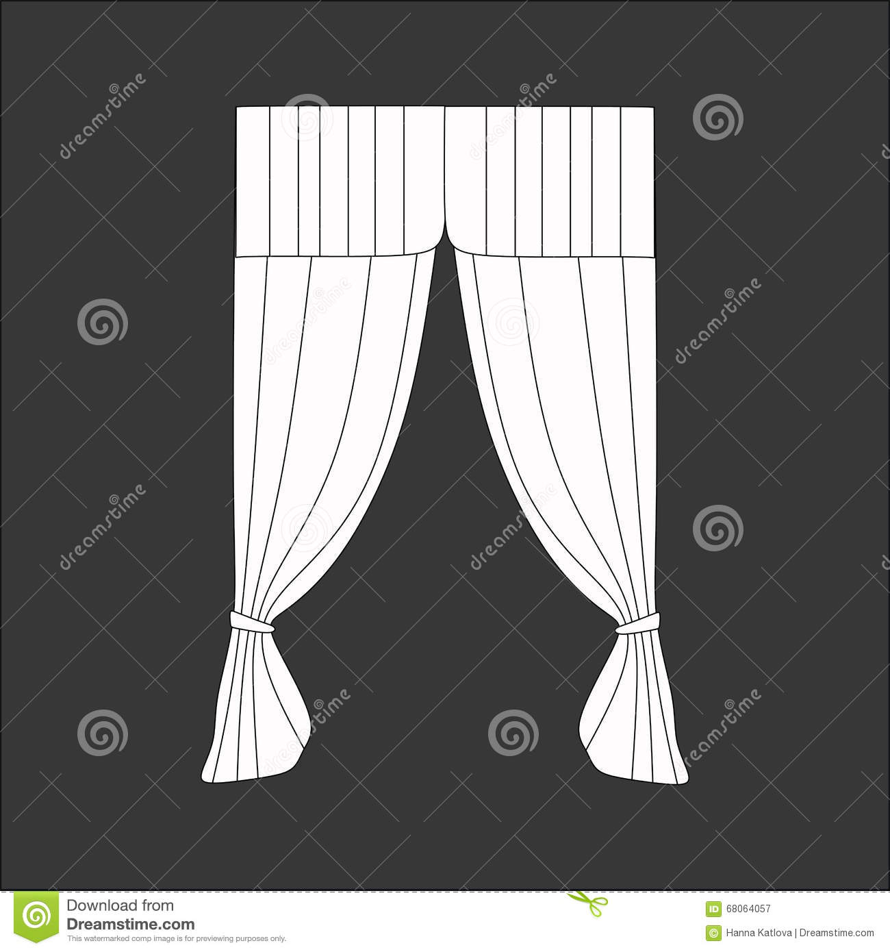 Sketch design curtains windows stock illustration image for Window design sketch