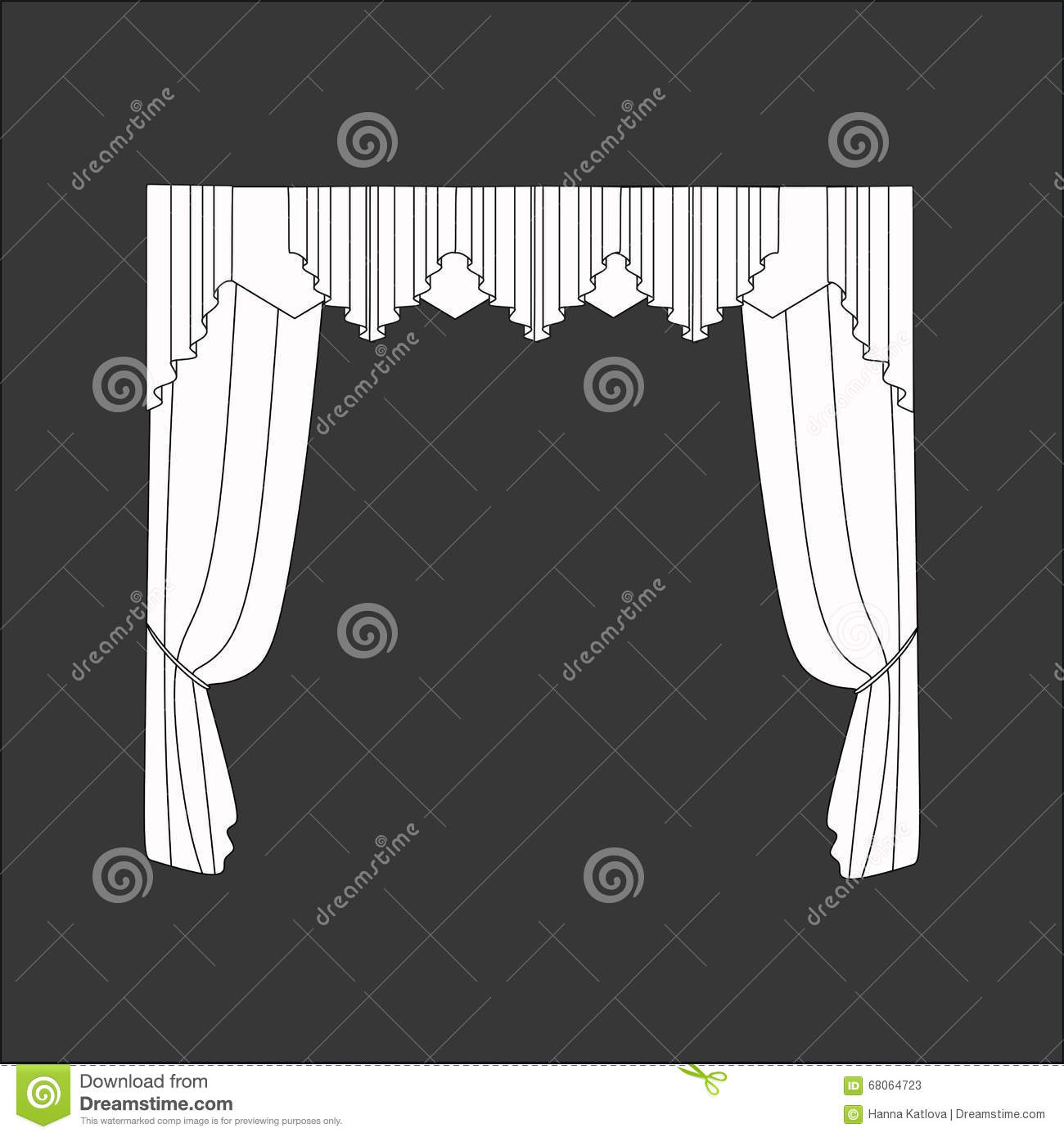Sketch design curtains windows stock vector image 68064723 for Window design sketch