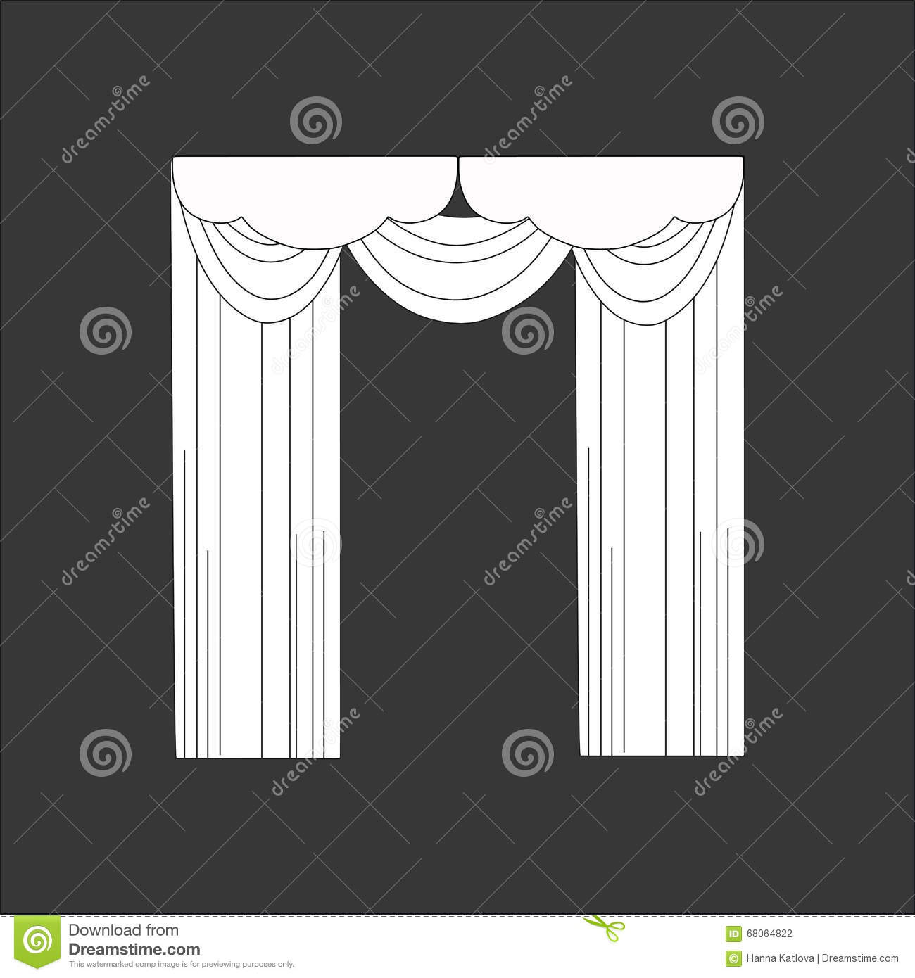 Sketch design curtains windows stock vector image 68064822 for Window design sketch