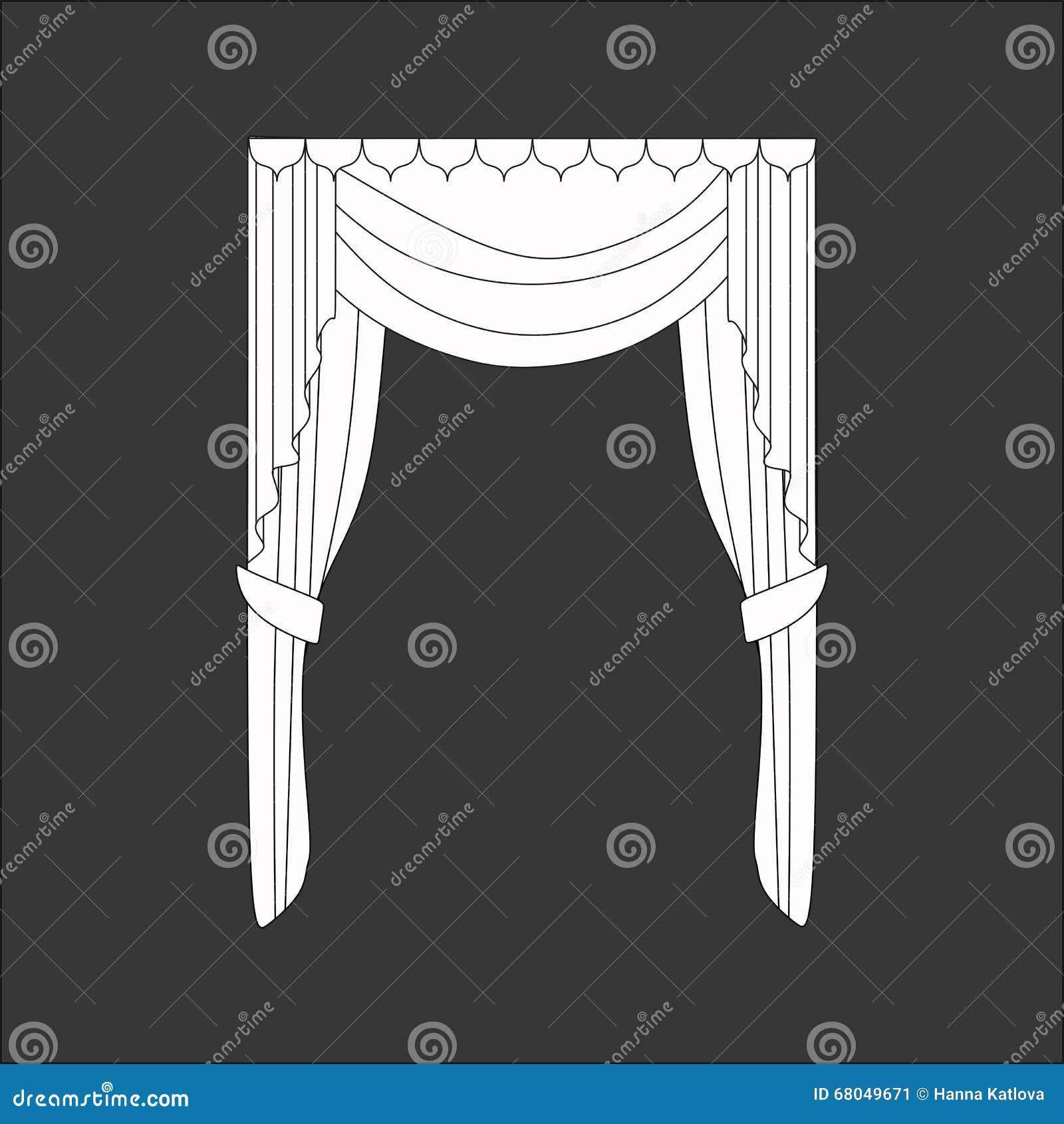 Sketch design curtains windows stock vector illustration