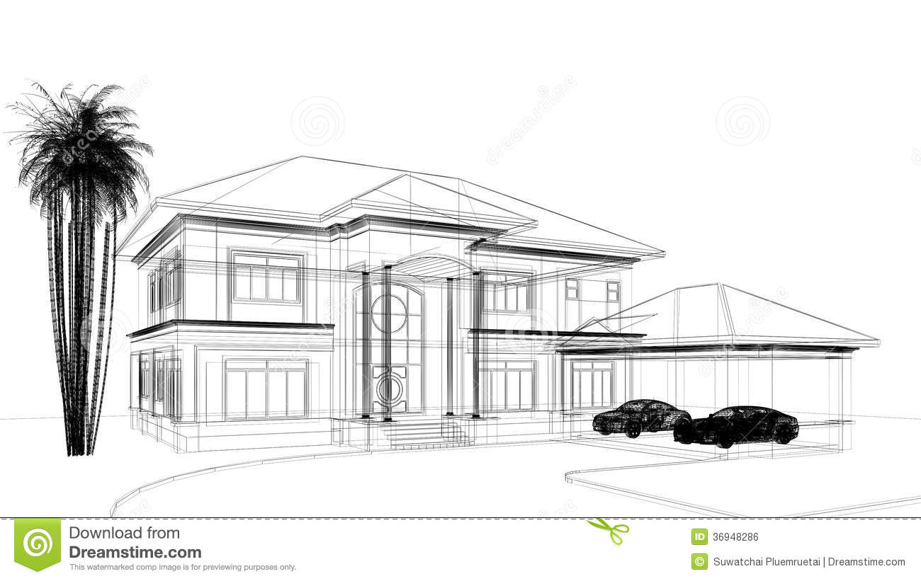 sketch design of house royalty free stock image