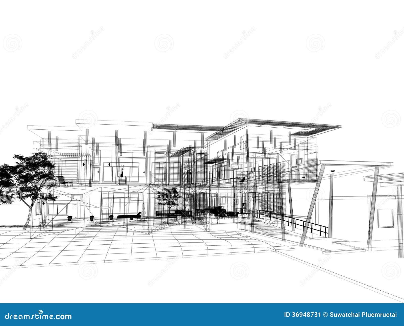 Sketch design of house stock illustration. Illustration of ...