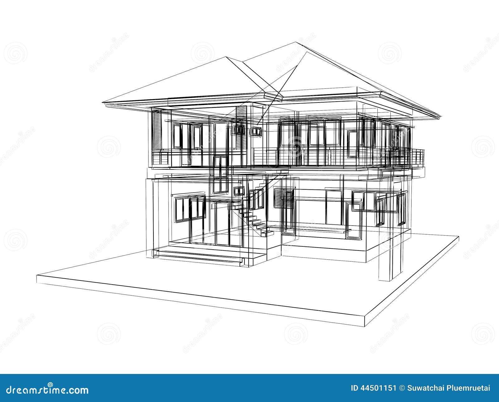 Sketch design of house stock illustration. Illustration of room ...