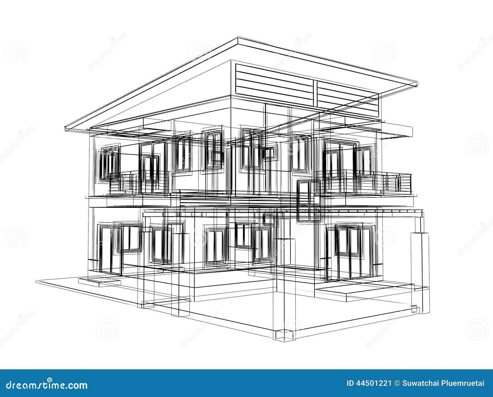 sketch design of house stock illustration