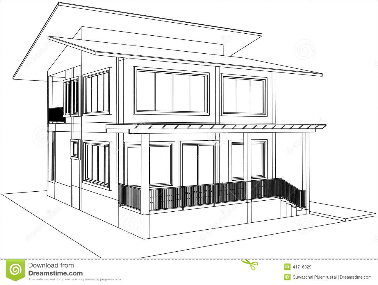 sketch design of housevector architecture drawing - House Sketch Design