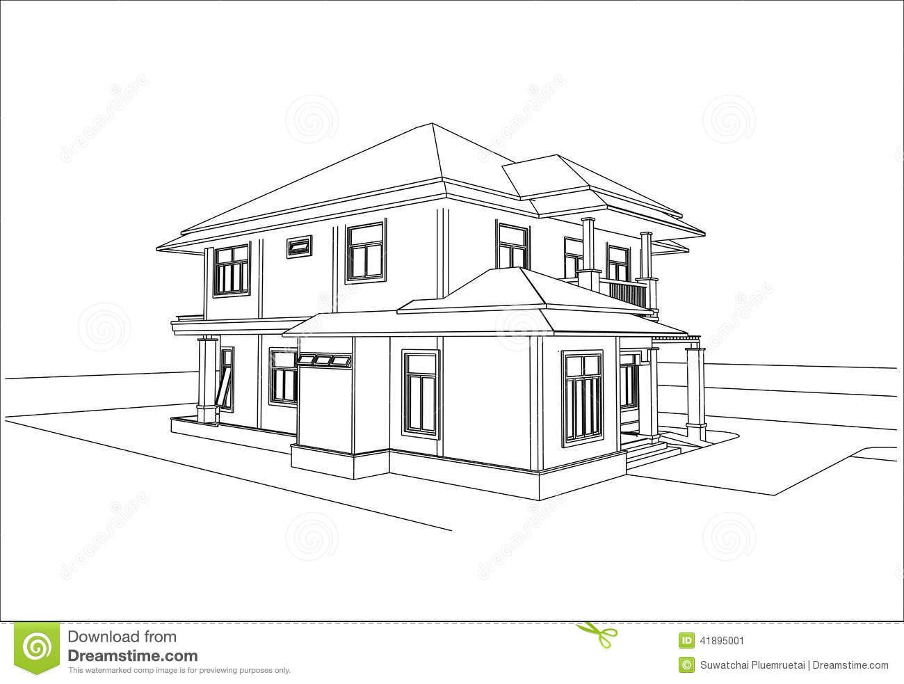 Sketch design of house vector stock vector illustration for Online architecture drawing