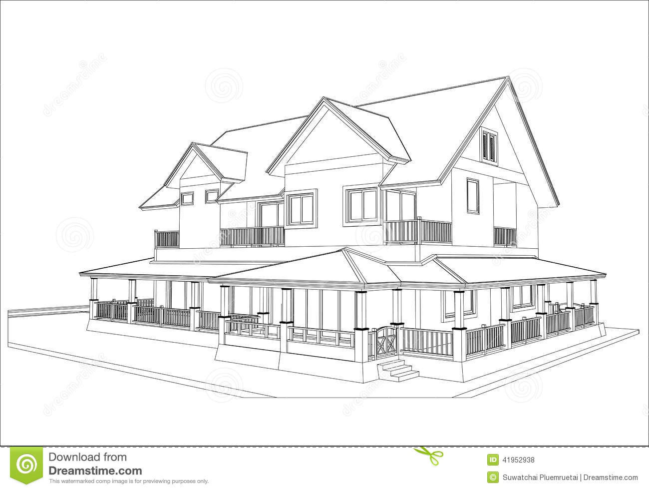 Sketch design of house vector stock vector image 41952938 for House design drawing