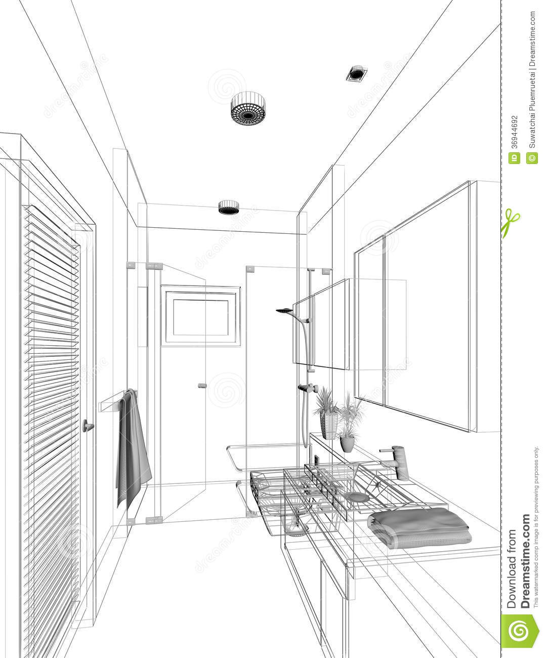 Sketch design of interior bathroom stock illustration for Bathroom designs drawing