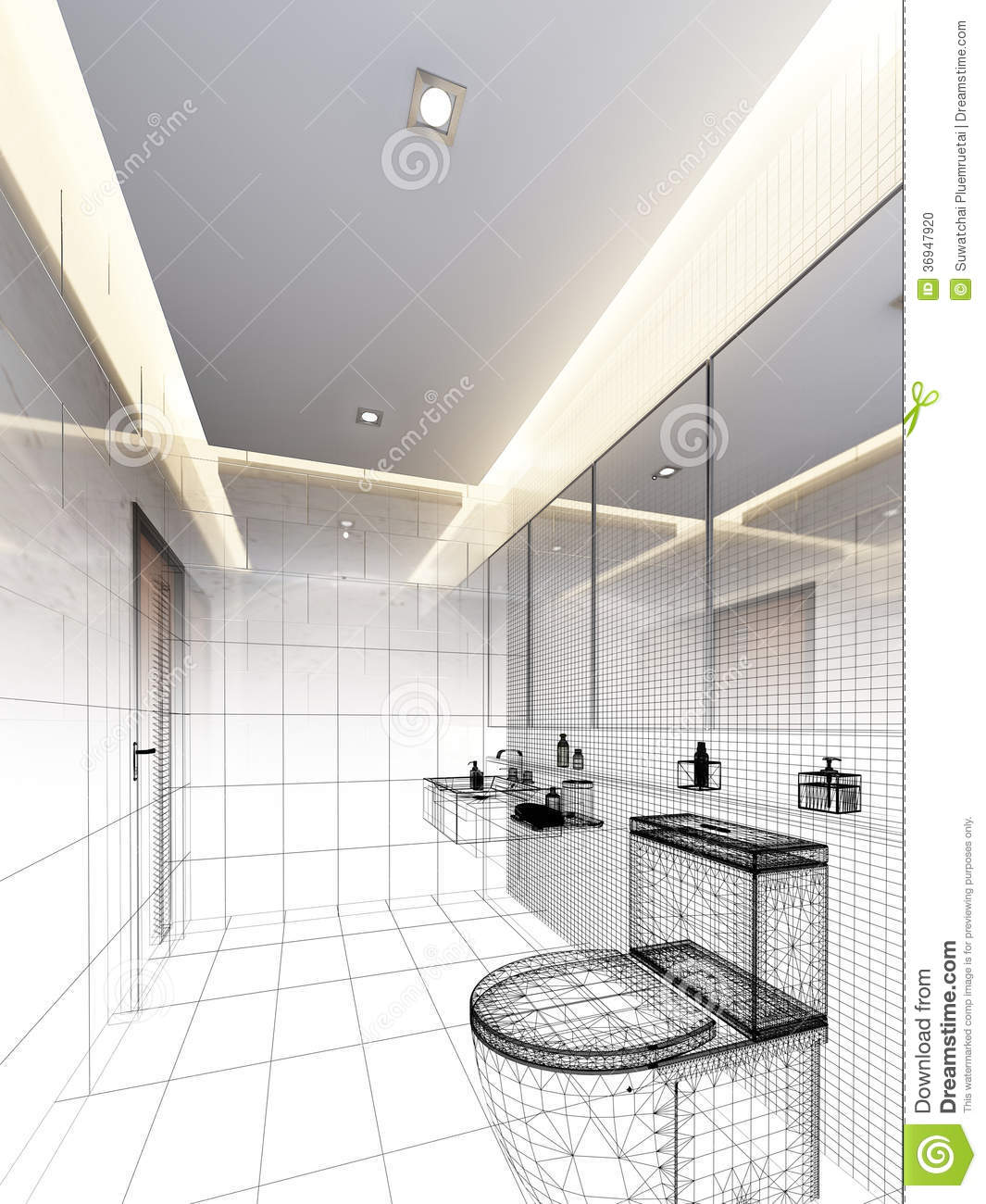 Sketch Design Of Interior Bathroom Stock Photo Image 36947920