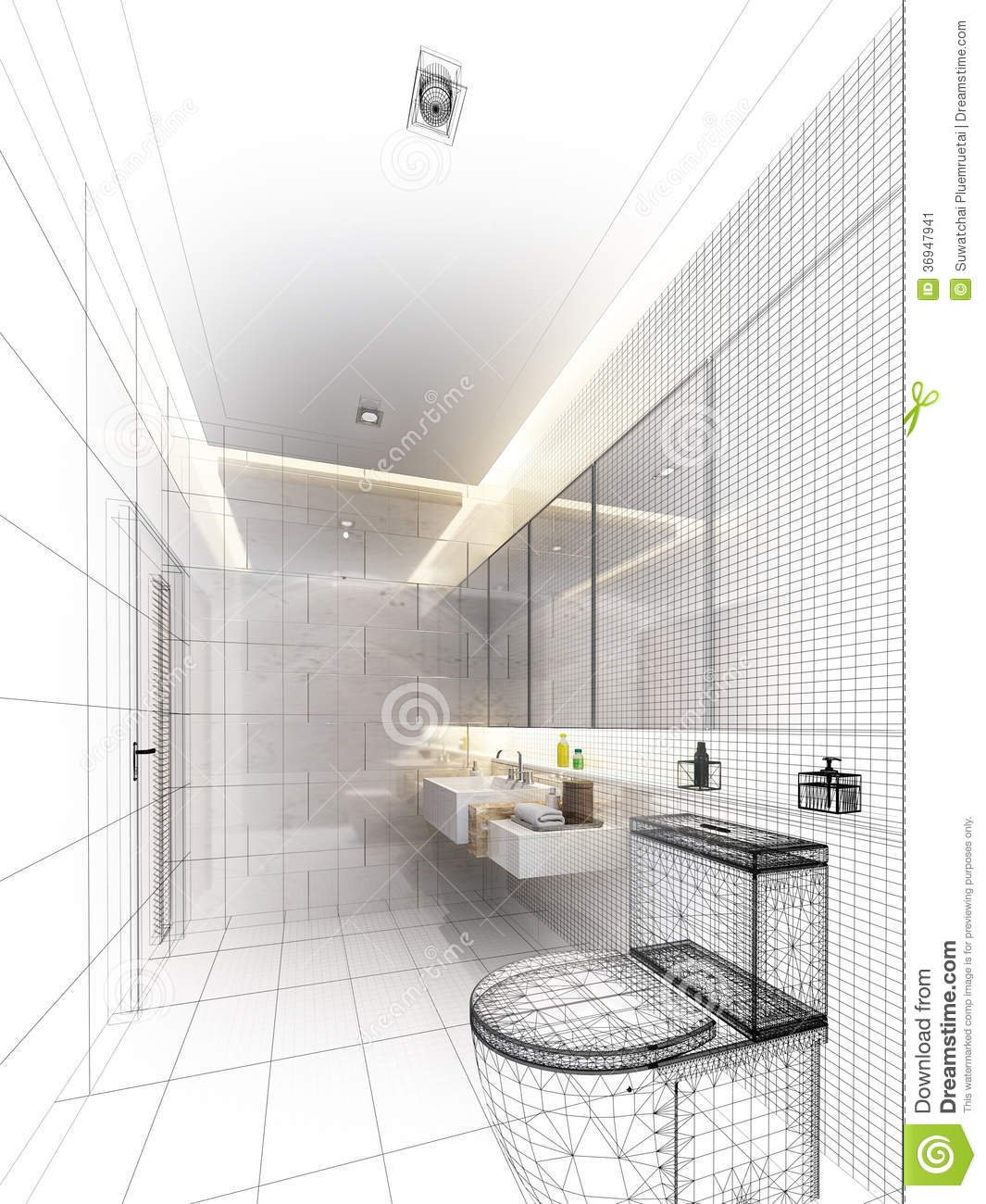 Sketch Design Of Interior Bathroom Stock Illustration Image 36947941
