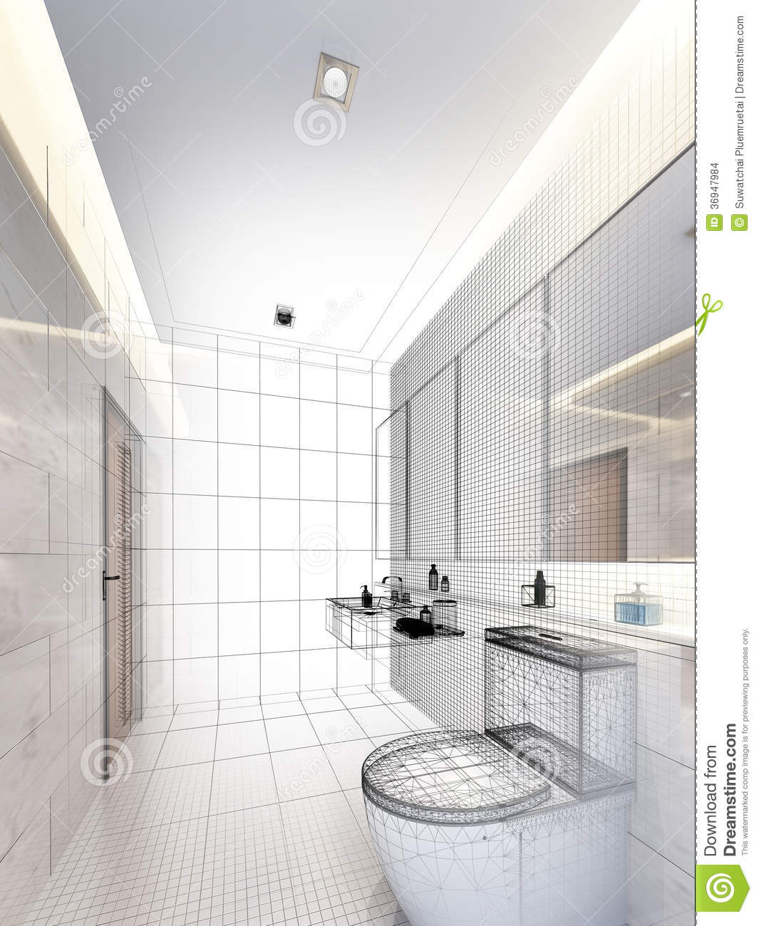 Sketch Design Of Interior Bathroom Stock Illustration Illustration Of Illustration Design