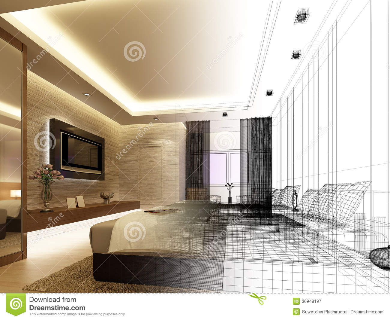 Sketch design of interior bedroom stock illustration for Interior designs drawings