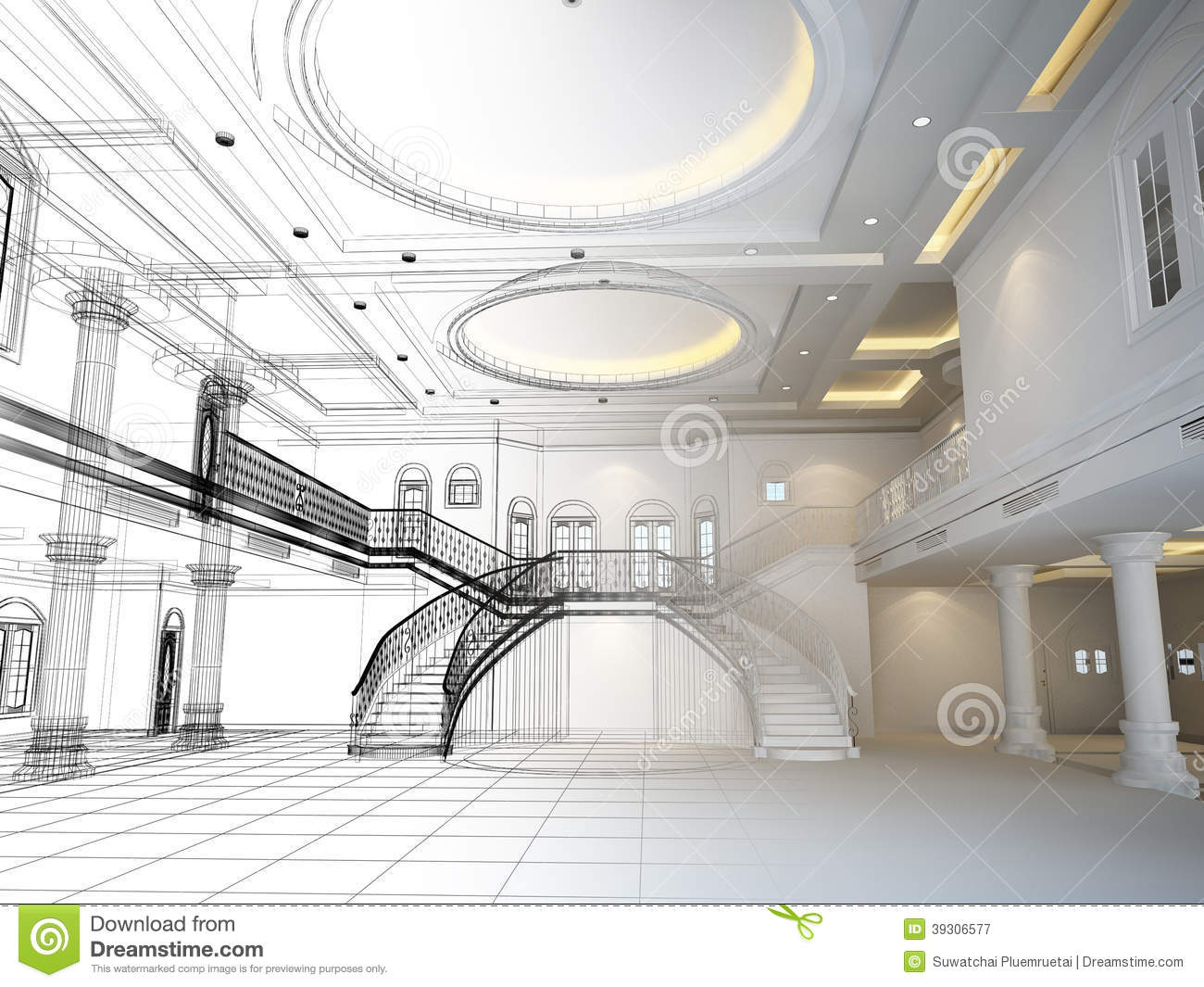 Sketch design of interior hall 3d render stock for A d interior decoration contractor