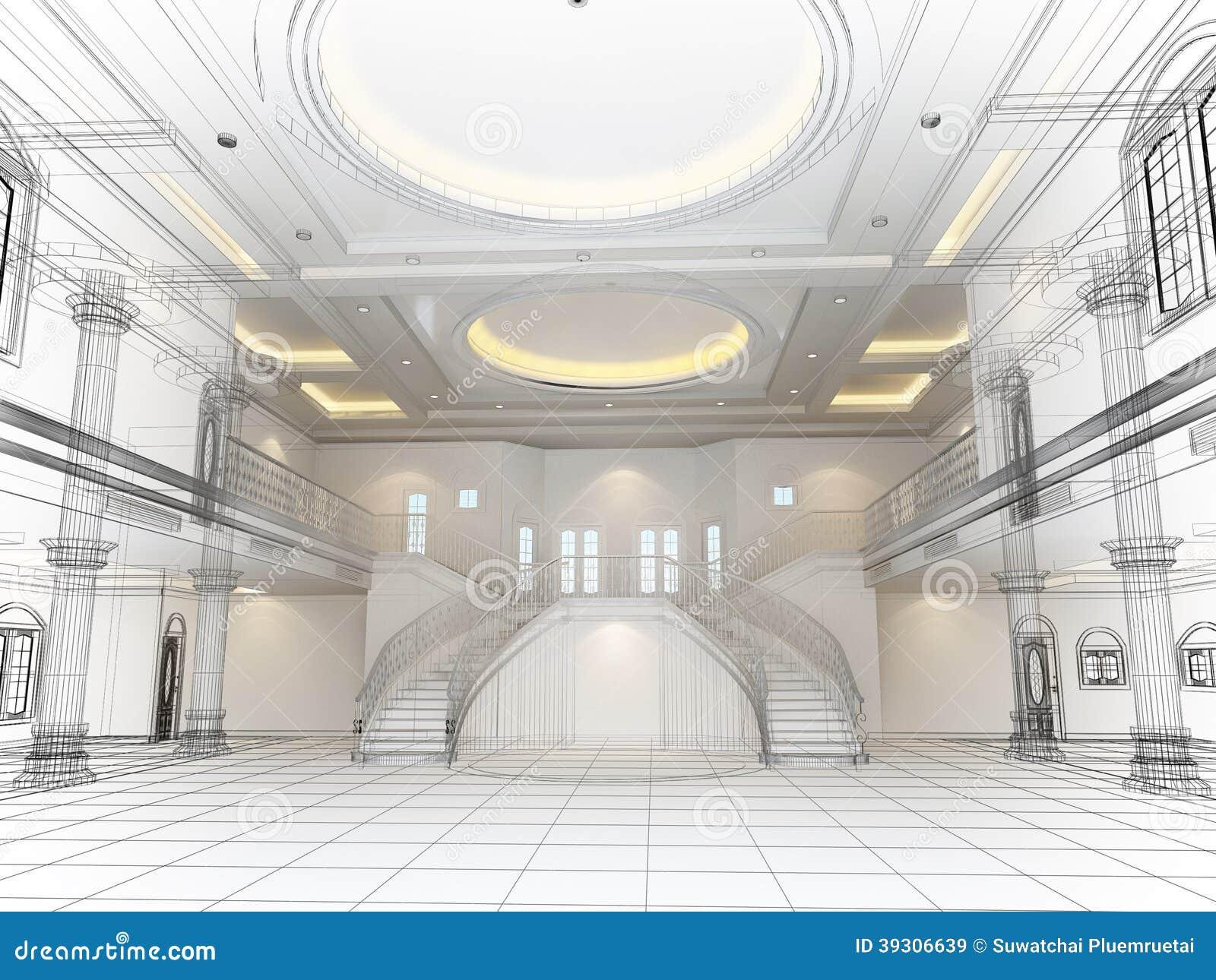 Sketch Design Of Interior Hall 3d Render Stock Illustration Image 39306639