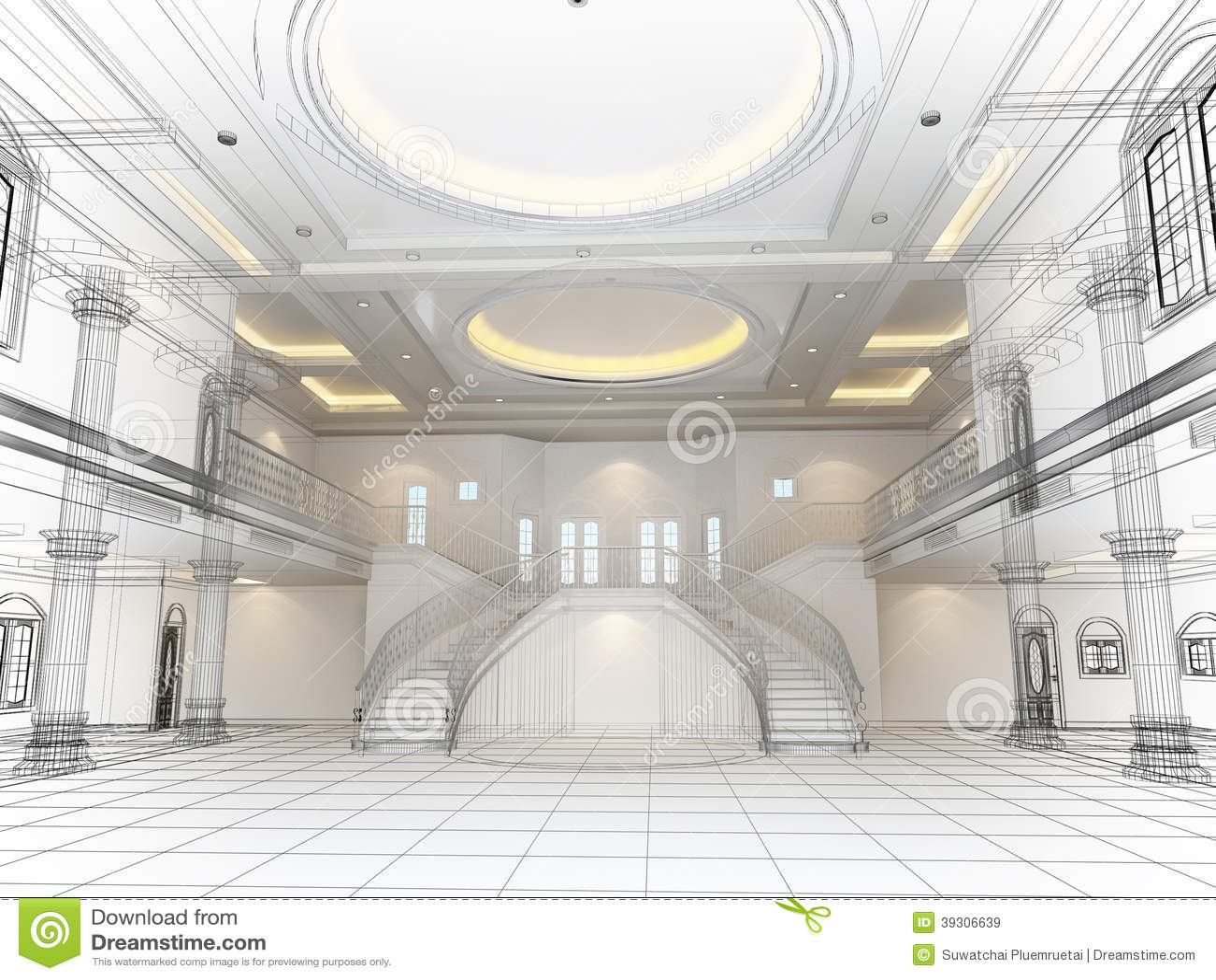 sketch design of interior hall  3d render stock