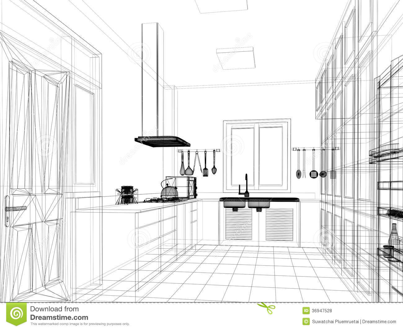 Sketch Design Of Interior Kitchen Stock Illustration Image 36947528