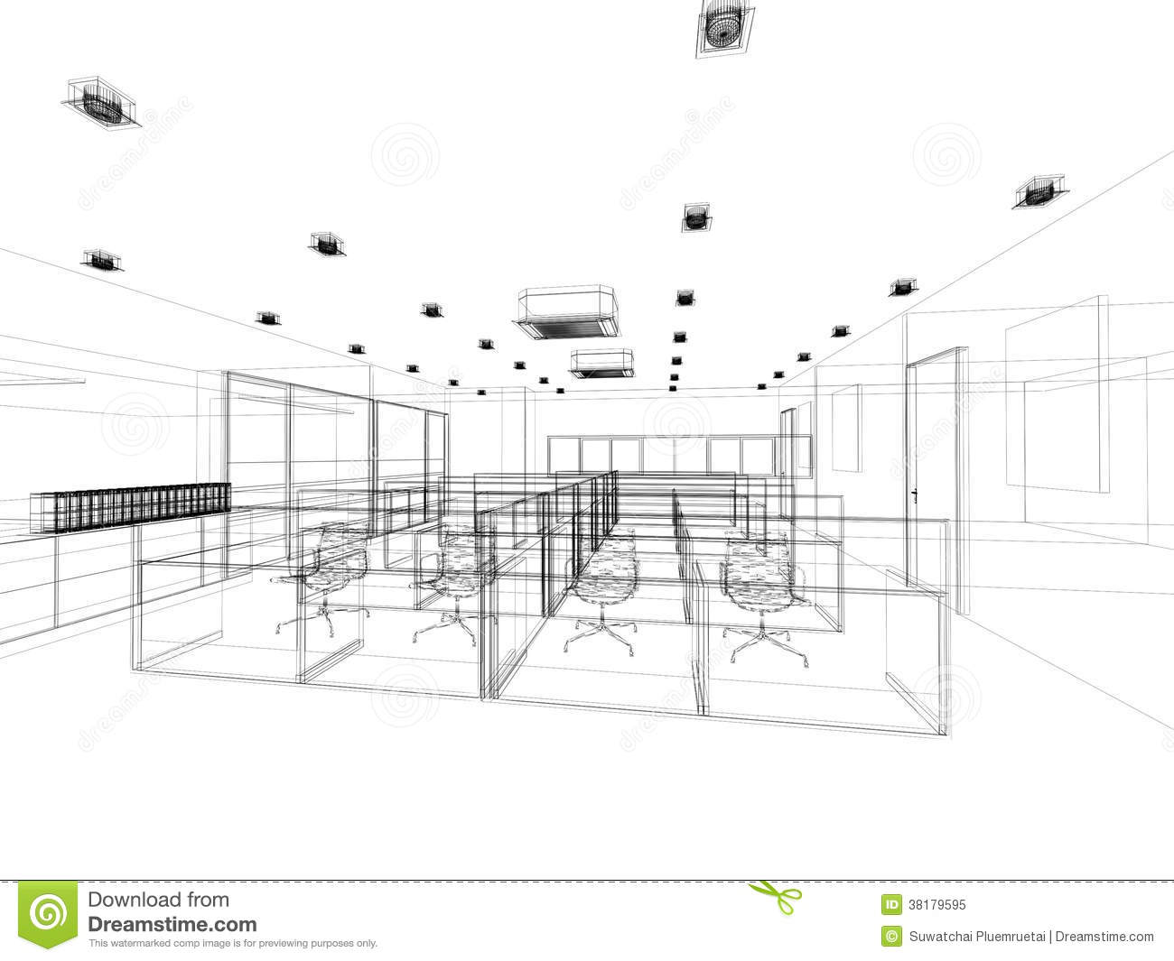 Interior Design Office Sketches sketch design of interior office stock illustration - image: 73942607