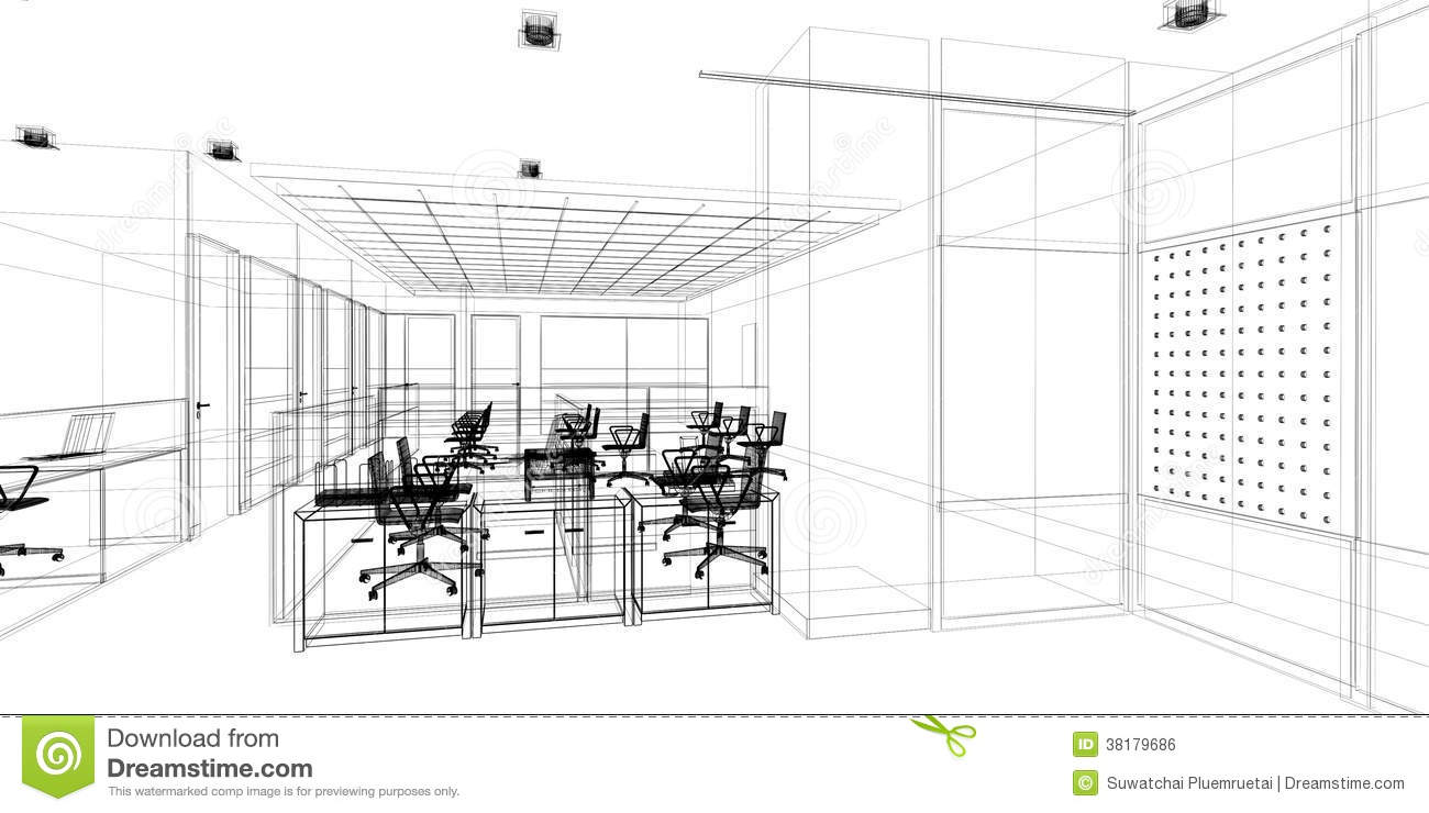 Sketch design of interior office royalty free stock image for Interior designs sketches