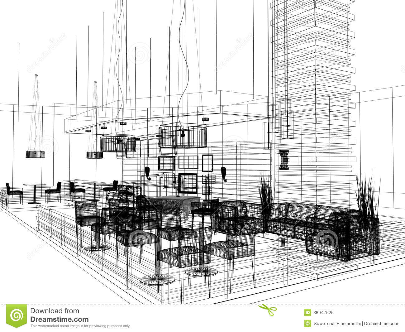 sketch design of interior restaurant royalty free stock