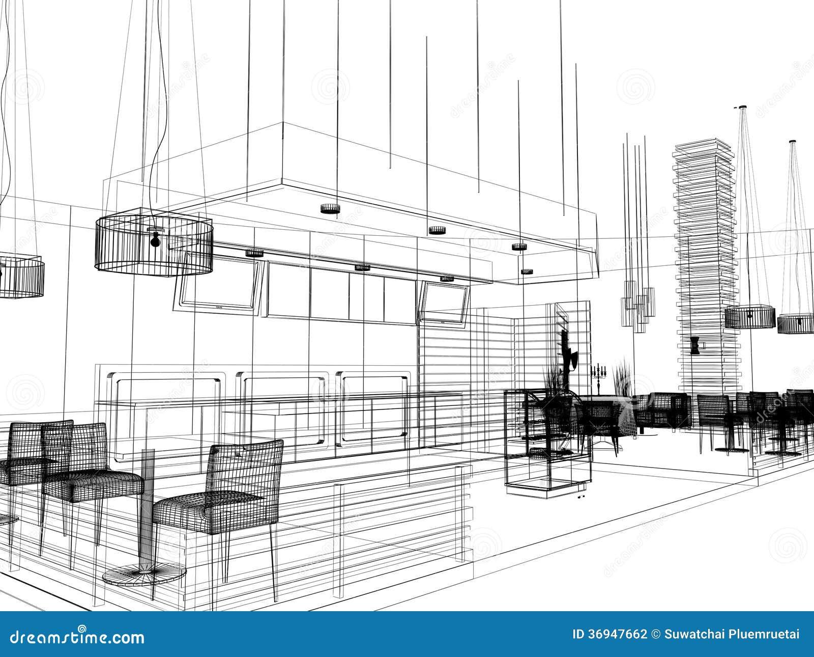 Small Restaurant Floor Plan Sketch Design Of Interior Restaurant Stock Illustration