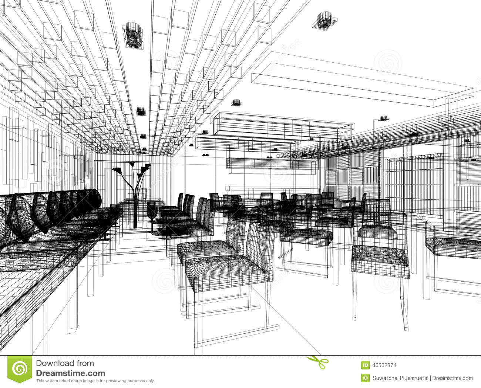 Sketch design of interior restaurant stock illustration